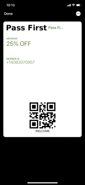 Send a pass to customer's mobile wallet from point of sale using WalletIn